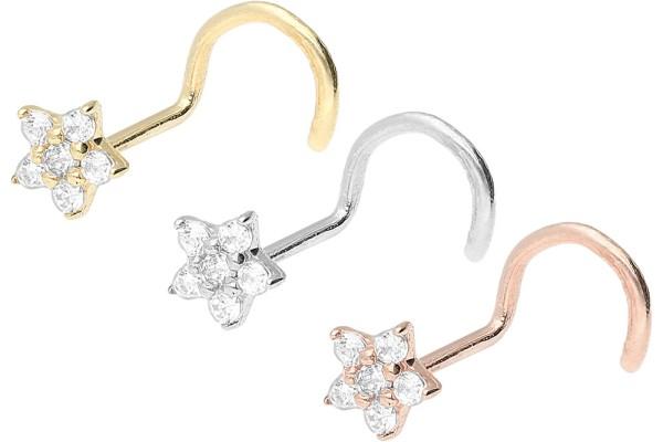 Złoto 18 karatowe kolczykk do piercingu nosa spirala kryształowy kwiatek