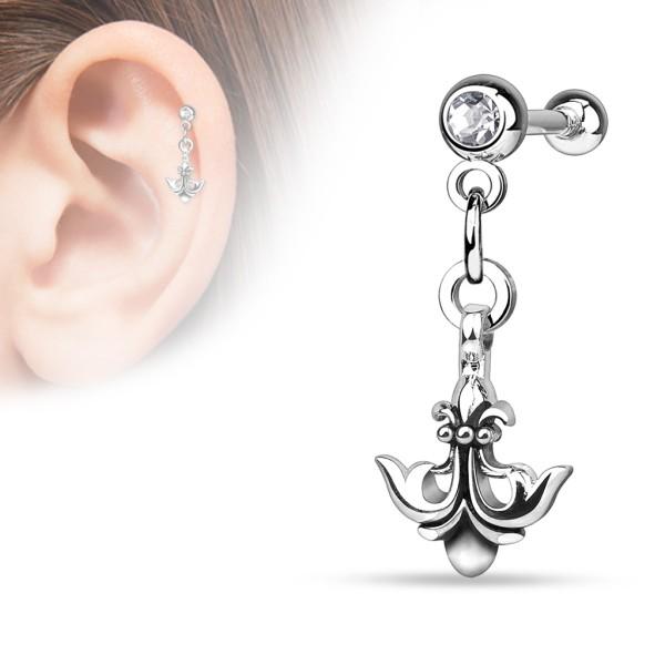 Kotwica z lilią de lis kolczyk do chrząstki ucha tragus helix cartilage stal chirurgiczna 316L piercing