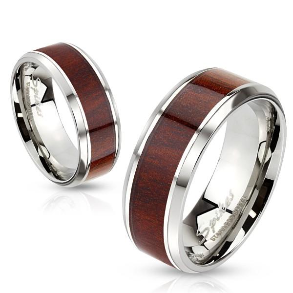 Drewno stal szlachetna ścięty rant pierścionek
