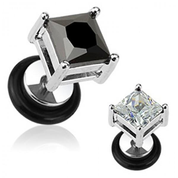 Kwadratowy kryształ Fake Plug kolczyk damski męski bez rozciągania ucha