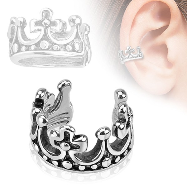 fadf54b273fd6f Korona Nausznica Ear cuff kolczyk do ucha i chrząstki ucha klips bez  przekłuwania piercing