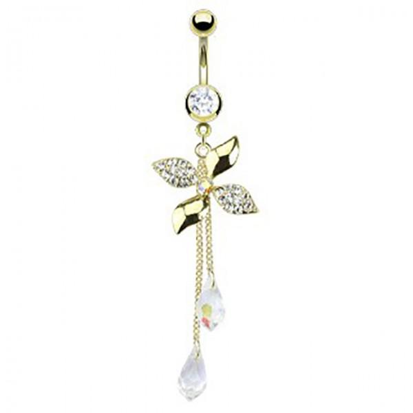 Kwiatek z małymi cyrkoniami kolczyk do pępka pozłacany 14 karatowym złotem piercing