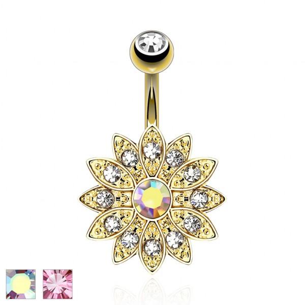 Kwiar z kamieniami szlachetnymi kolczyk do pępka pozłacany 14 karatowym złotem piercing