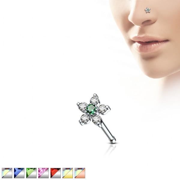 Kwiatek kolczyk do nosa nostril stal 316L piercing
