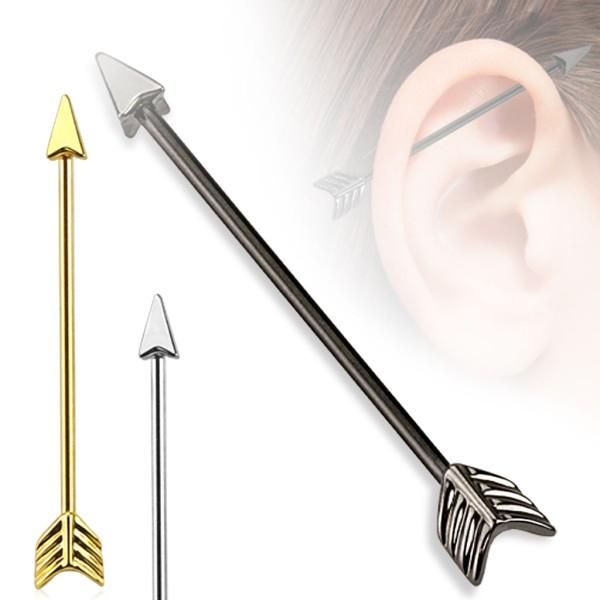 Strzała Łuk kolczyk do chrząstki ucha Industrial Surface Bar barbell piercing