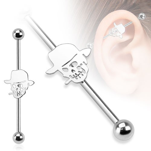 Czaszka kolczyk do chrząstki ucha Industrial Surface Bar barbell piercing