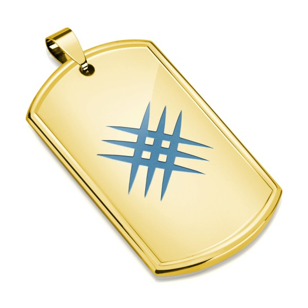 Złoty nieśmiertelnik grawura zawieszka stal szlachetna 316L