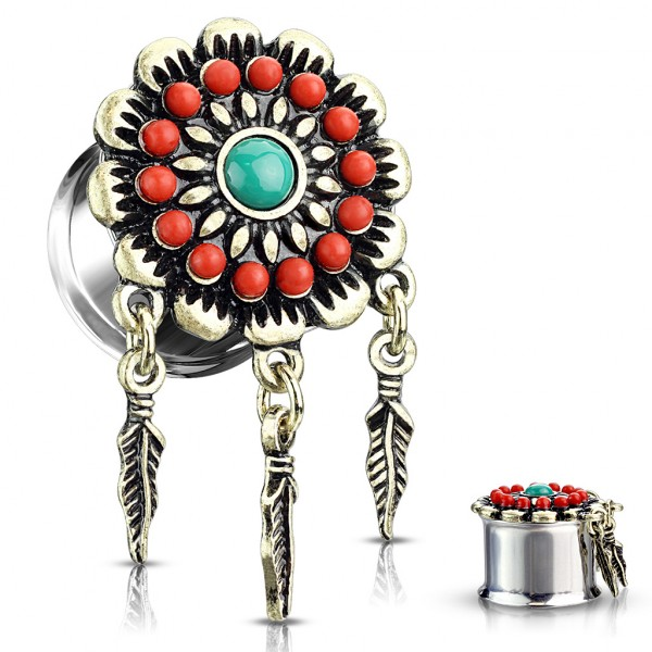 Pióra Aztecki kwiat Double Flared Tunel Plug do ucha
