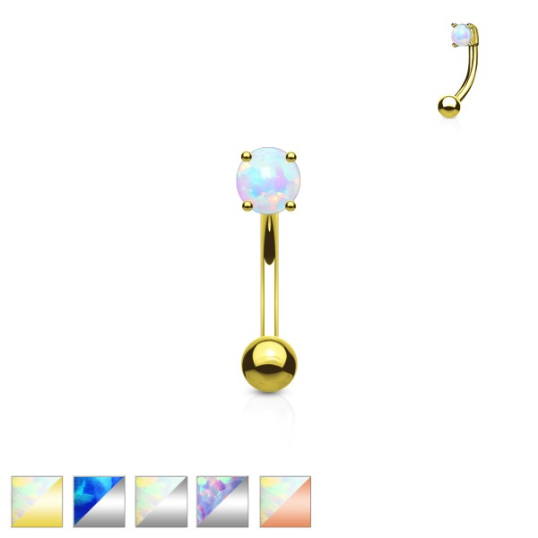3 mm opal banan curved barbell rook tragus helix brew stal chirurgiczna 316L