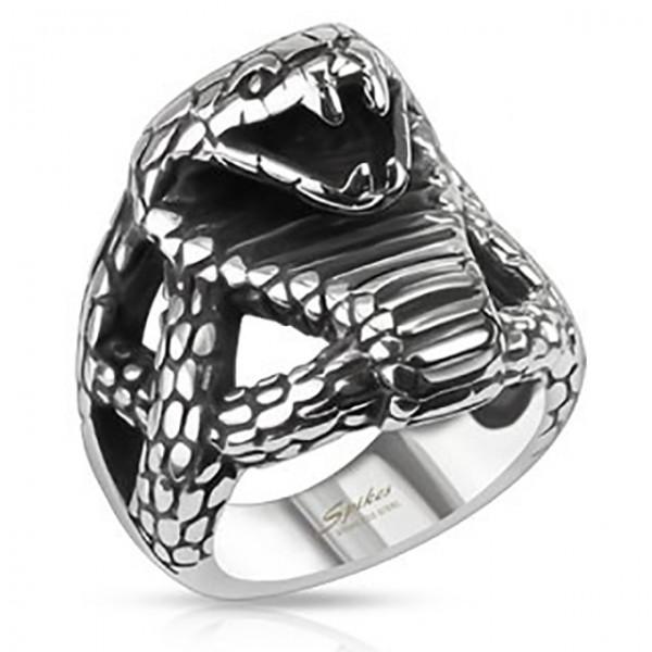 Ring wilde Kobra Edelstahl