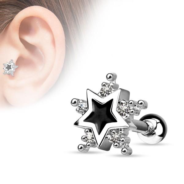 Gwiazdka kolczyk do chrząstki ucha tragus helix cartilage stal chirurgiczna 316L piercing