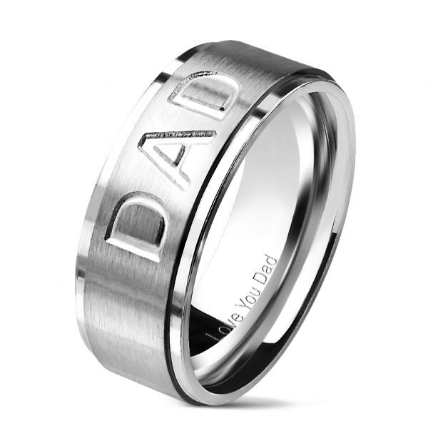 Love You Dad srebrny anodyzowany pierścionek obrączka