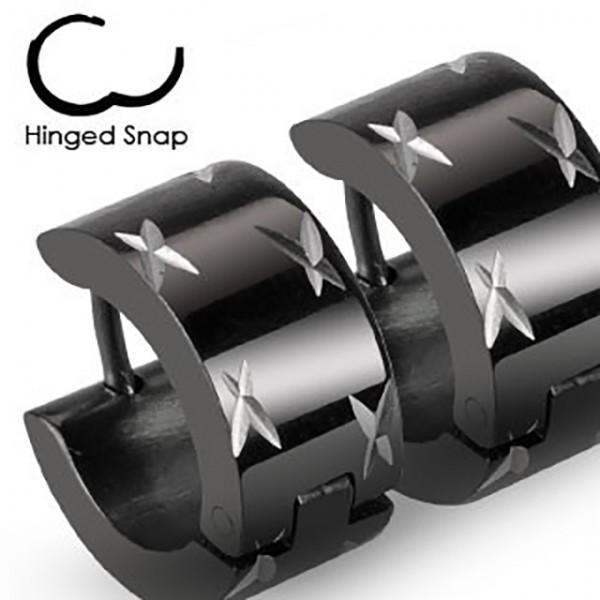 ein Paar Ring 316L Chirurgenstahl Schwarz Scharnier - Breite Ohrring mit - Dia-Cuts