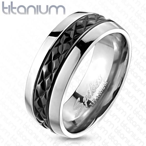 Czarna obrączka pierścionek tytan damski męski