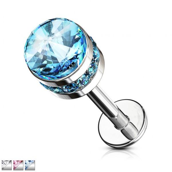 Kryształ kolczyk do piercingu ucha labret monroe helix sztanga gwint wewnętrzny