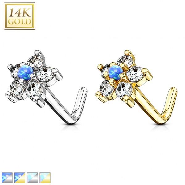 Kwiatek Opal kolczyk do nosa nostril piercing złoto 14 karatowe 585