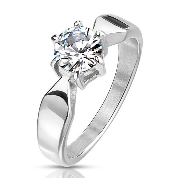 7mm cyrkonia srebrny pierścionek zaręczynowy ze stali szlachetnej