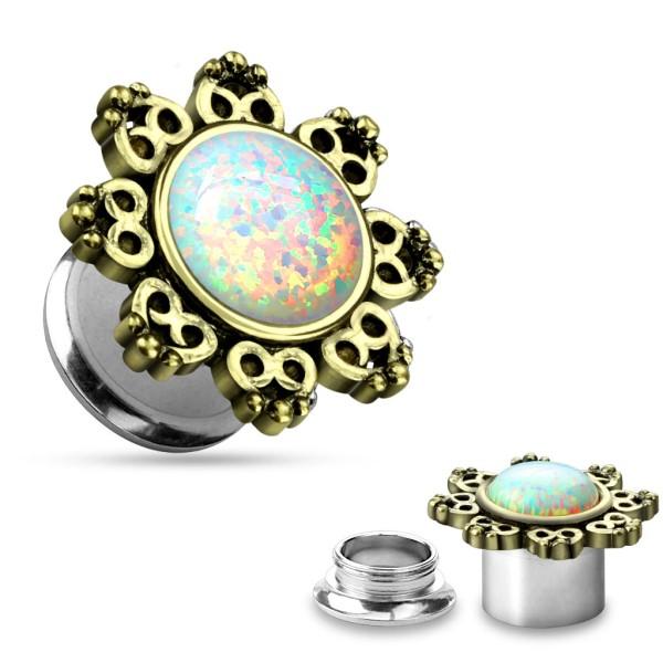 Opal Plug Flesh Tunnel piercing kolczyk do ucha