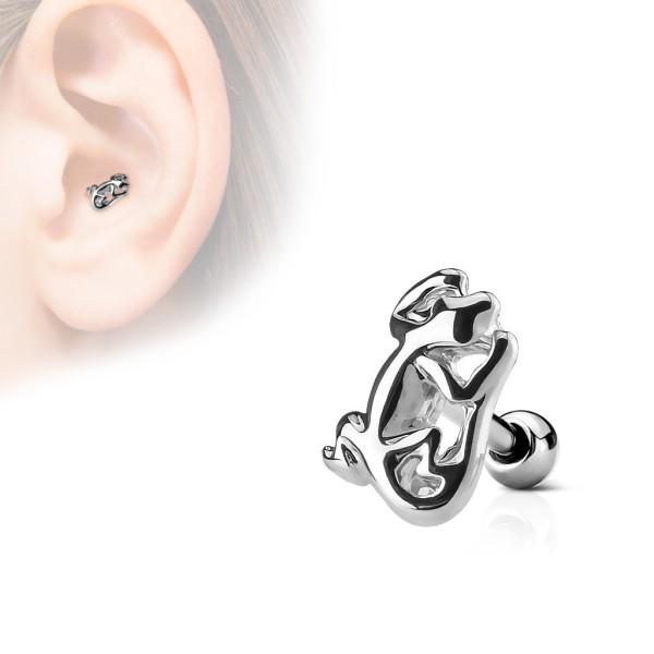 Jaszczurka kolczyk do chrząstki ucha tragus helix flat stal chirurgiczna 316L piercing