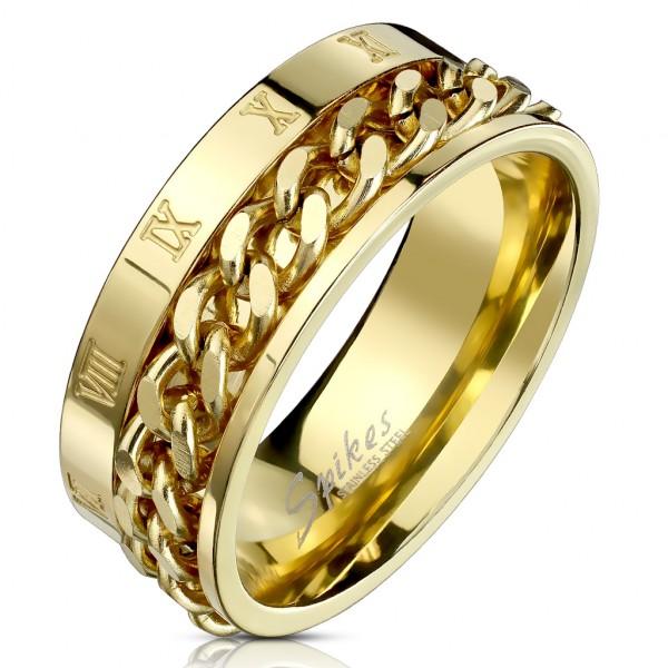Złoty szeroki pierścionek z ruchomym łańcuszkiem rzymskie cyfry