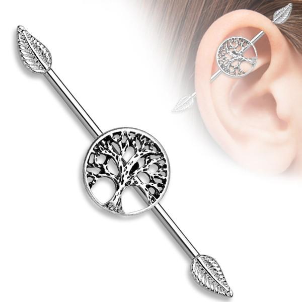 Drewno życia kolczyk do chrząstki ucha Industrial Surface Bar barbell piercing