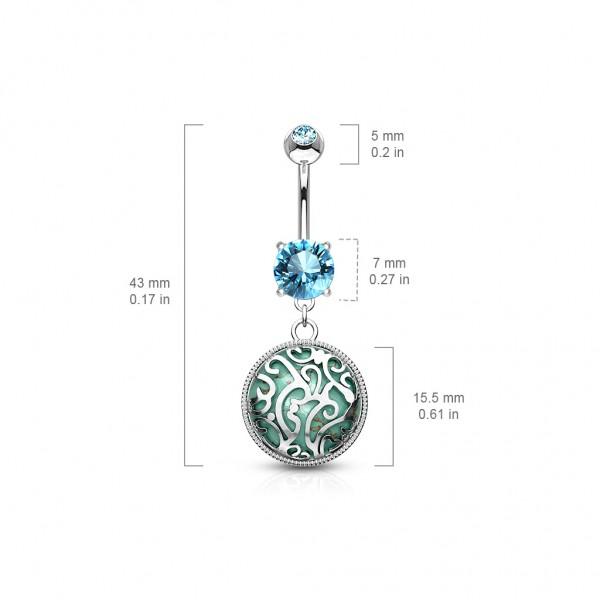 Medalion kamień półszlachetny kolczyk do pępka turkus piercing