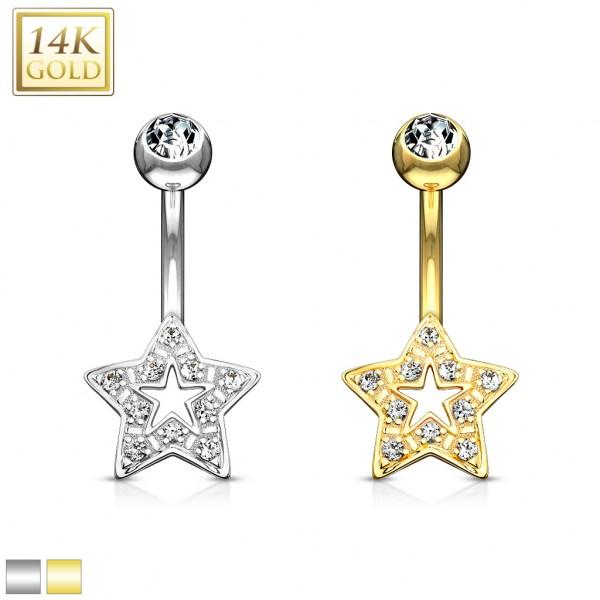 Gwiazda cyrkonia białe złoto 14 karatowe kolczyk do pępka