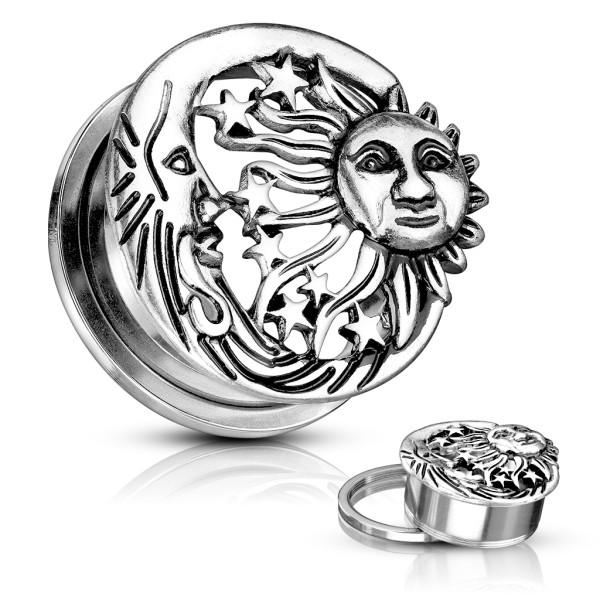 Słońce księżyc flesh tunel do ucha gwint zewnętrzny