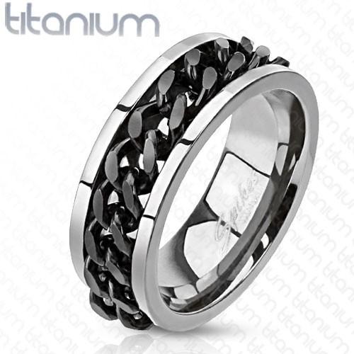 Tytan pierścionek zczarny łańcuszek