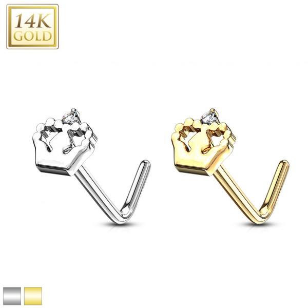 Korona Królewska kolczyk do piercingu nosa kształt L Złoto 14 karatowe