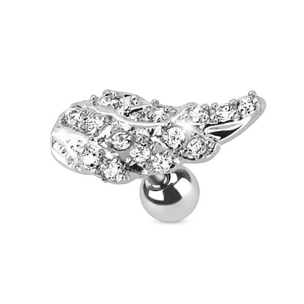 Skrzydło anioła z cyrkoniami kolczyk do chrząstki ucha tragus helix cartilage stal chirurgiczna 316L piercing