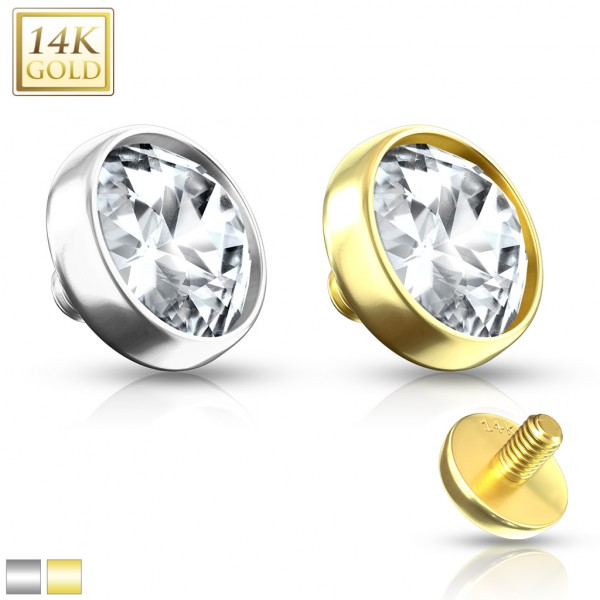 Cyrkonia Nakrętka Dermal Anchor Top Implant złoto 14 karatowe piercing