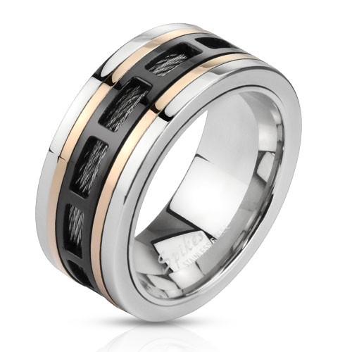 Czarny stal szlachetna pierścionek męski sygnet