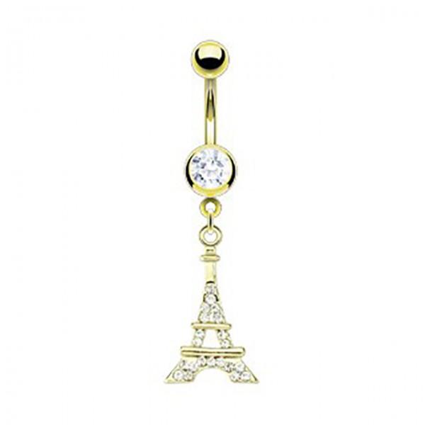 Wieża Eiffel kolczyk do pępka pozłacany 14 karatowym złotem piercing