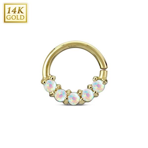 14Kt. złoty w linie opal zestaw Septum/Cartilage pierścionki
