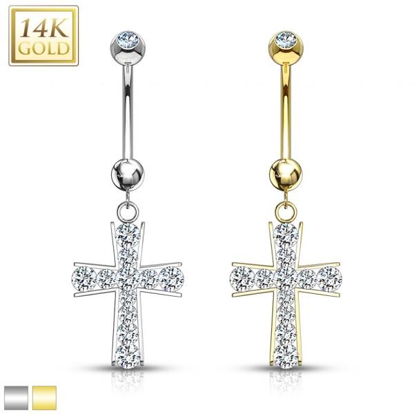 Krzyż złoty kolczyk do pępka 14 karatowe złoto 585 piercing