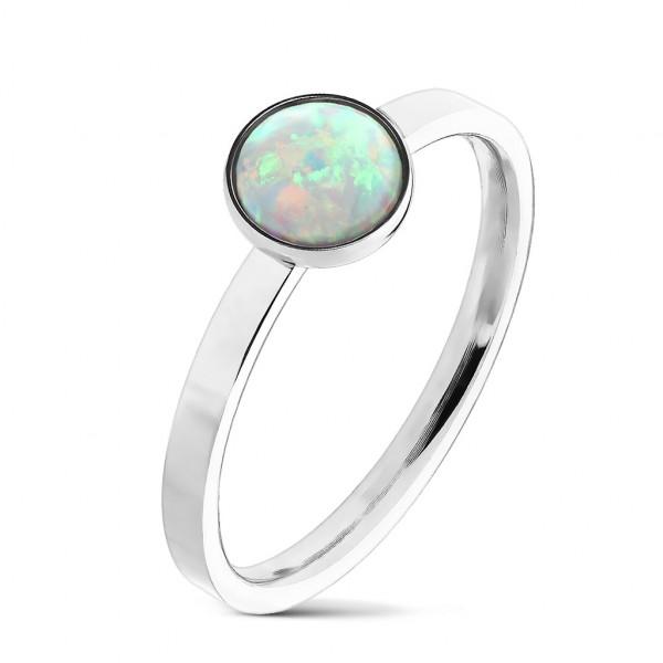 Opal klasyczny pierścionek stal chirurgiczna 316L