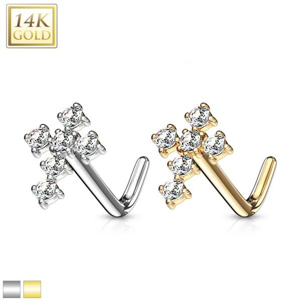 Krzyż kolczyk do piercingu nosa kształt L Złoto 14 karatowe