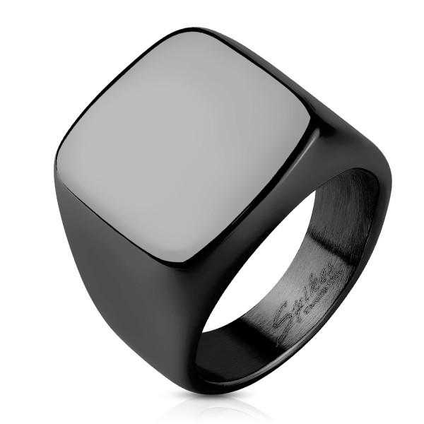 Kwadrat szlif czarny sygnet pierścionek ze stali szlachetnej