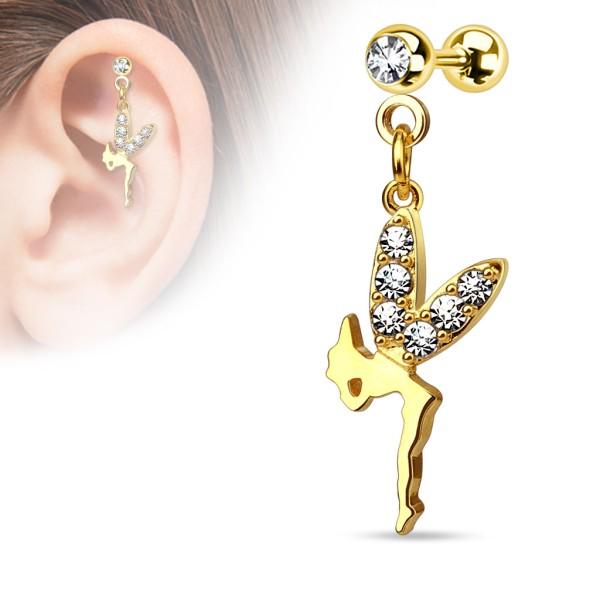Wróżka kolczyk do chrząstki ucha tragus helix cartilage stal chirurgiczna 316L piercing