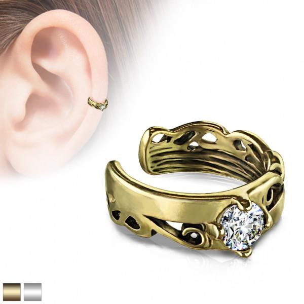 Celtycki kolczyk vintage złoty klipsy do ucha kolczyk helix bez przekłuwania oszukany piercing