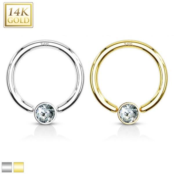 Prawdziwe złoto 585 14 karatowe kolczyk CBR piercing