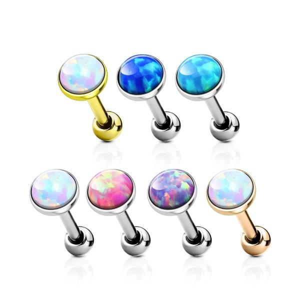 42 sztuki opal zestaw płaski top stal chirurgiczna 316L chrząstka barbells prosty kolczyk opakowanie (6 sztuka x 7 Colors)
