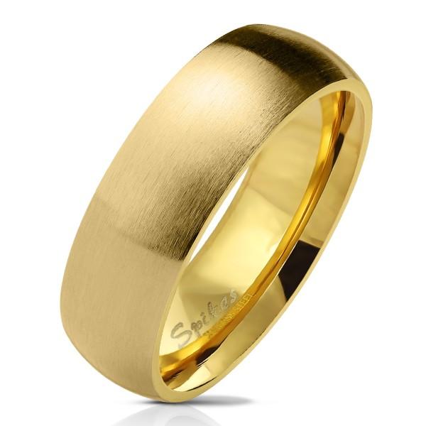 Matowy błyszczący w środku klasyczny pierścionek złoty stal szlachetna obrączki ślubne