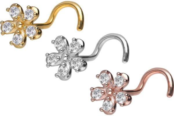Złoto 18 karatowe kolczykk do nosa spirala kwiatek kryształ