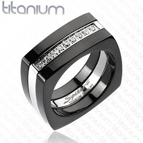 Cyrkonie kwadrat czarny pierścionek tytan