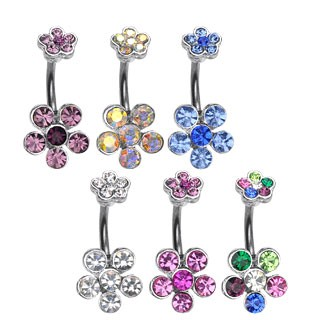 Navel Ring w/ Double 6-Gem Flower 60pc Pack (10pcs x 6 colors)
