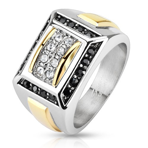 Micro cyrkonia sygnet pierścień damski męski