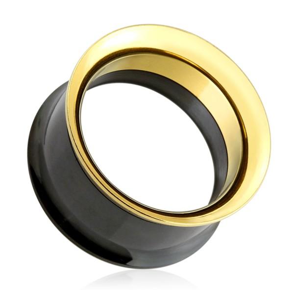Złoto srebrny Plug Flesh Tunnel piercing kolczyk do ucha z gwintem wewnętrznym