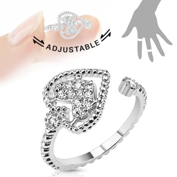 Serce kamień mosiądz pierścionek